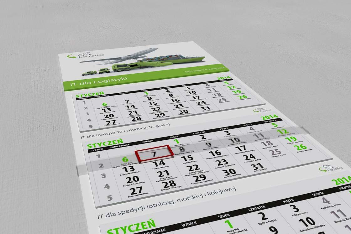 Kalendarz trójdzielny one click logistics