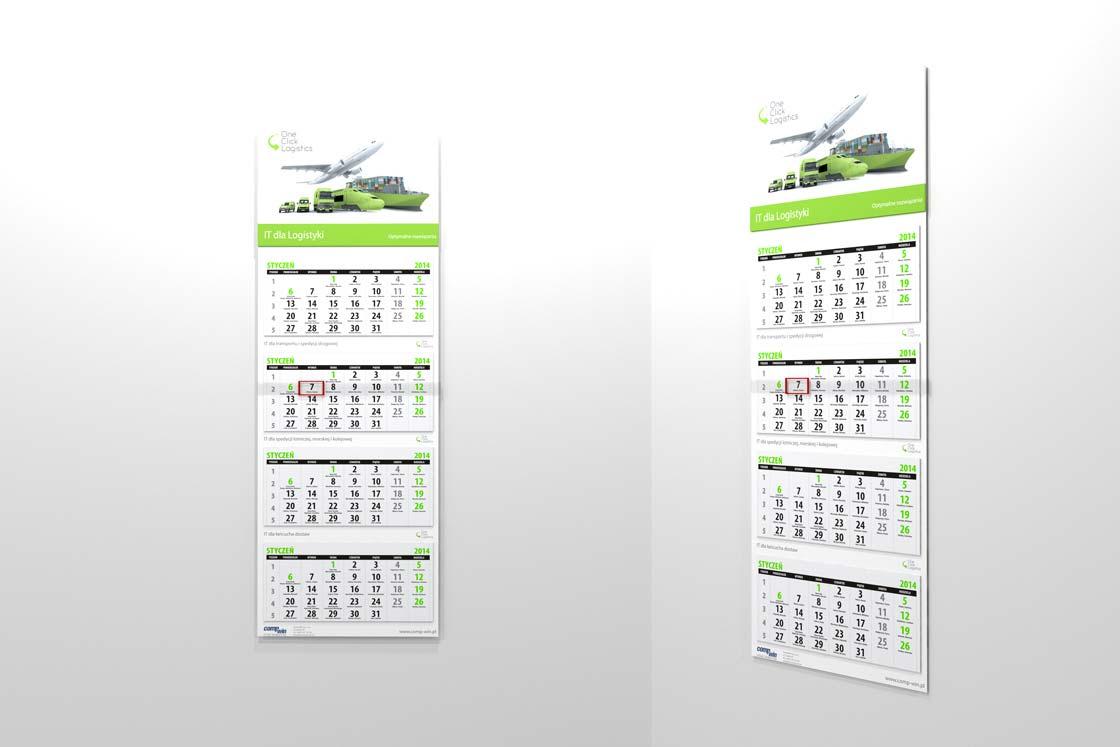 Kalendarz trójdzielny czterodzielny one click logistics