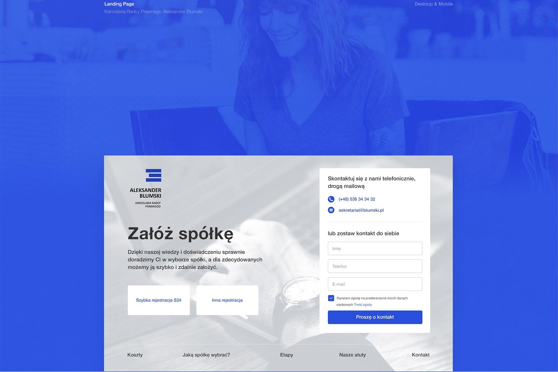 projektowanie landing page