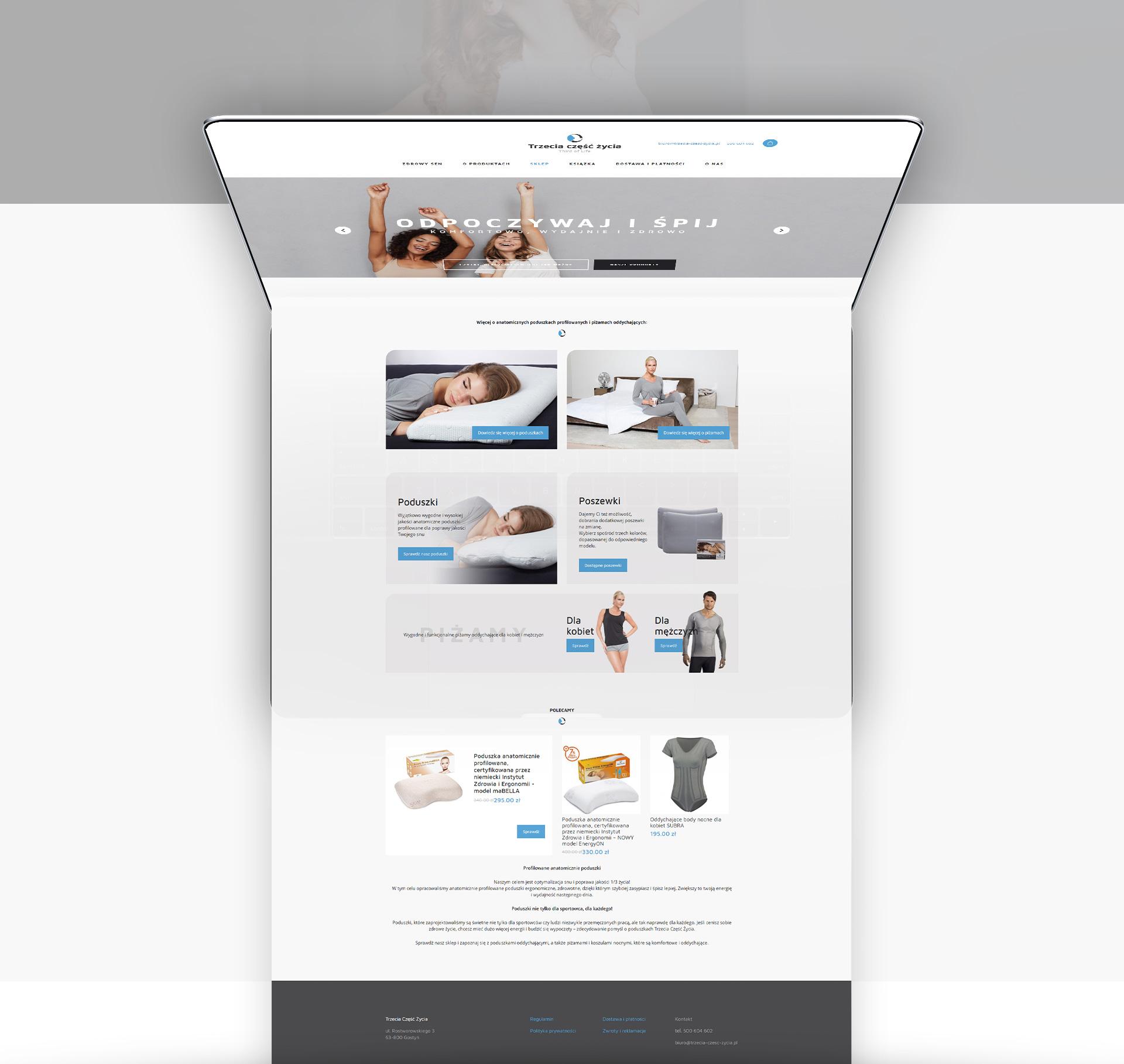 sklep internetowy gostyń trzecia część życia poduszki ortopedyczne