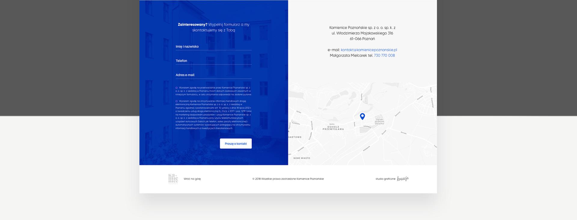 zakładka kontakt na stronie www kamienice poznańskie
